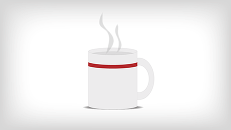 Hot beverage icon with steam rising